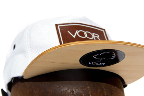 Trucker - White Denim - Wood Brim Hat