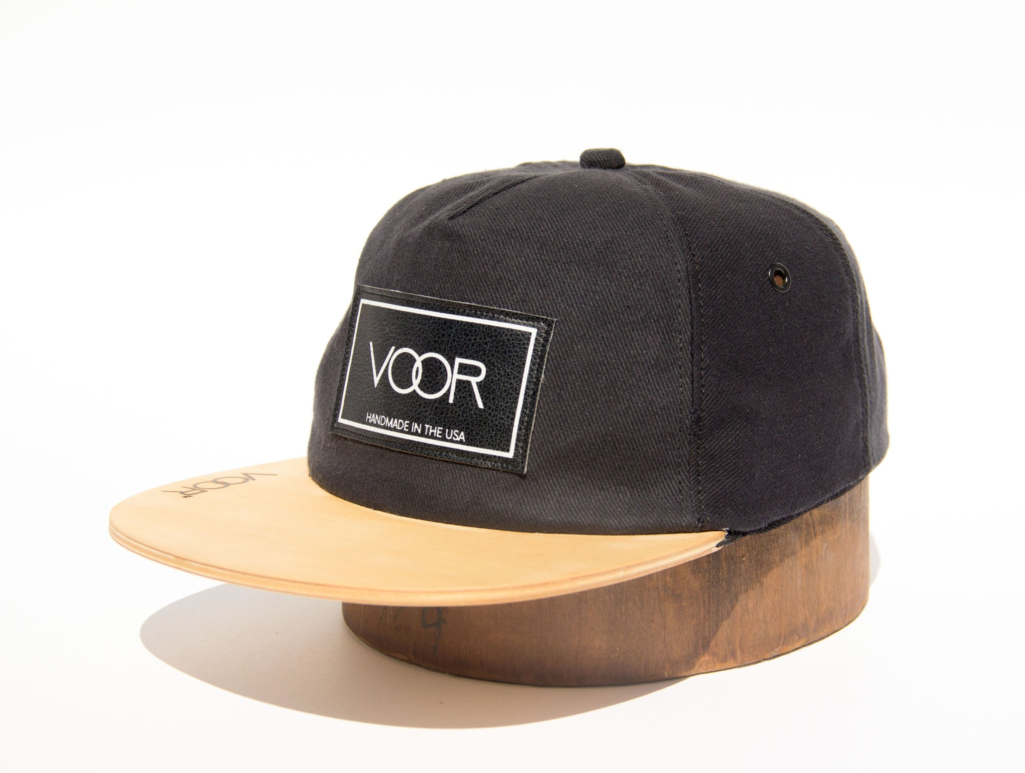 Trucker - Black Denim - Wood Brim Hat
