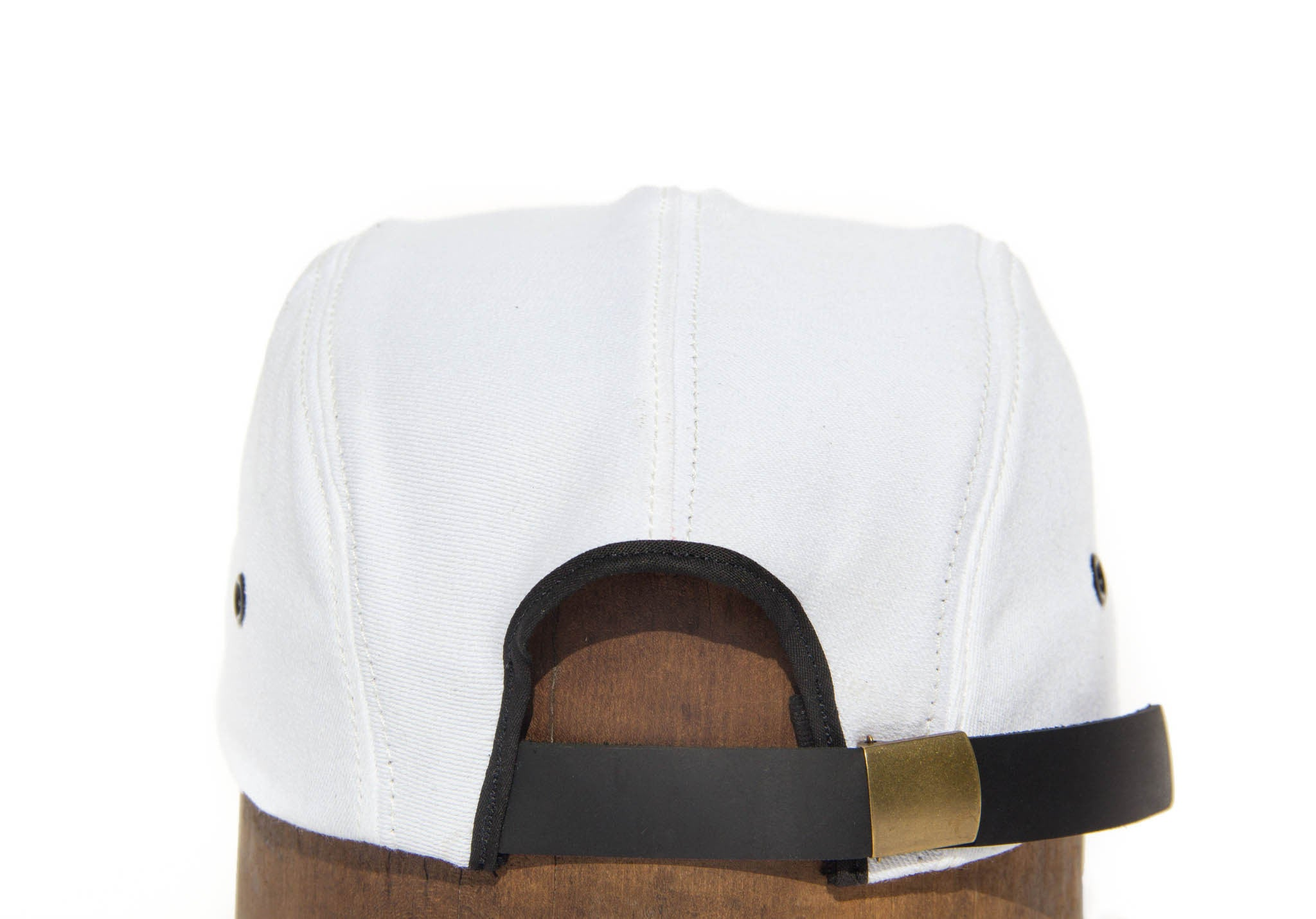 5 Panel - White Denim - Wood Brim Hat