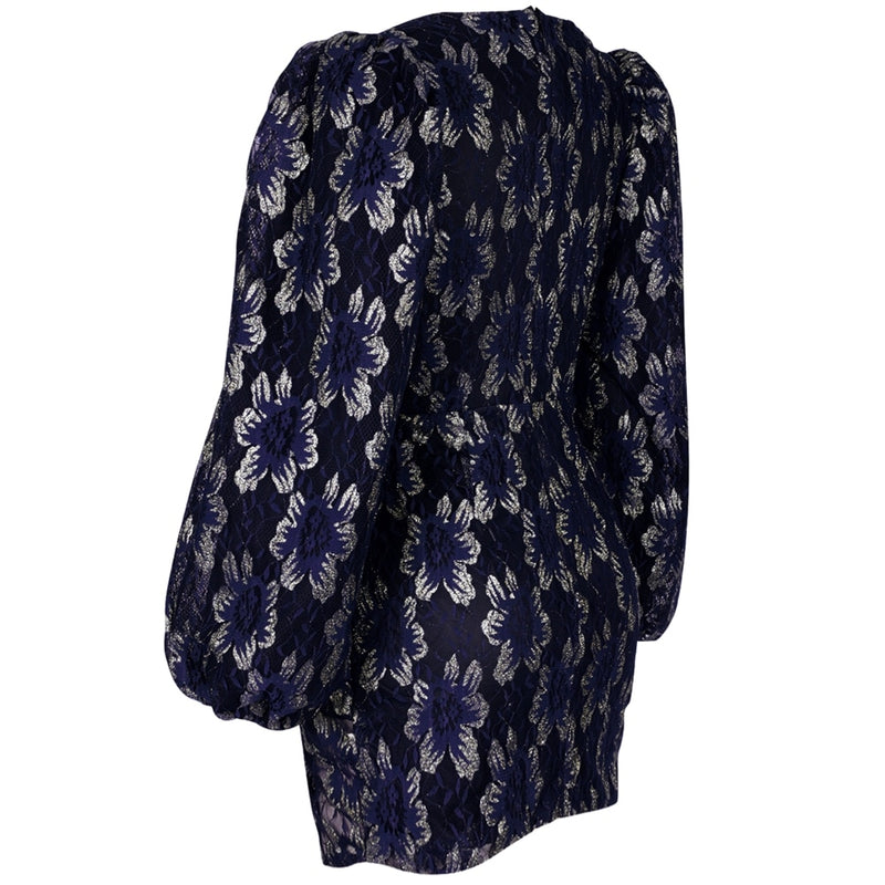 DEEP BLUE BLACK PUFF SLEEVE MINI - Revossa