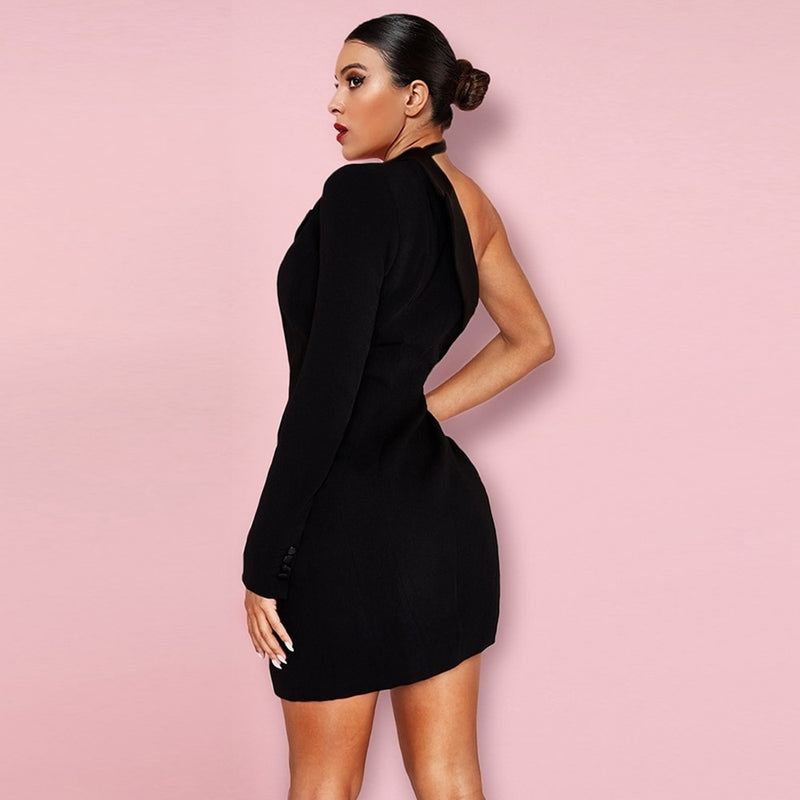ASYMMETRICAL MINI BLAZER DRESS - Revossa