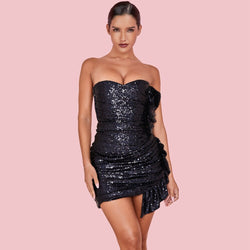 WRAPPED UP SEQUIN MINI DRESS - Revossa