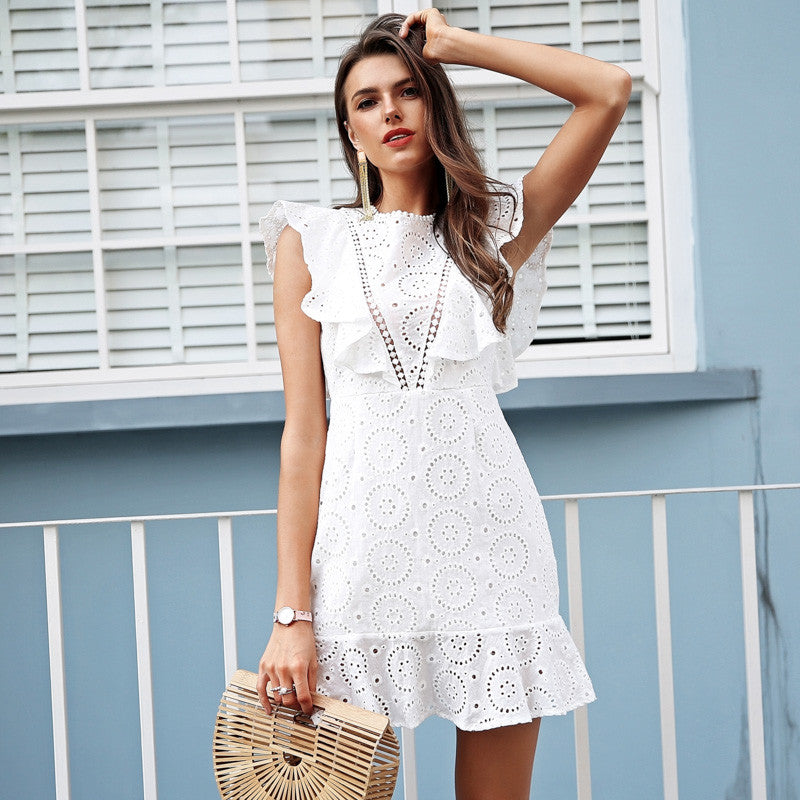 WHITE RUFFLE DRESS - Revossa