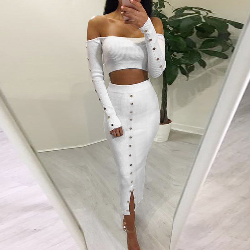 OFF SHOULDER LONG SLEEVE MAXI DRESS
