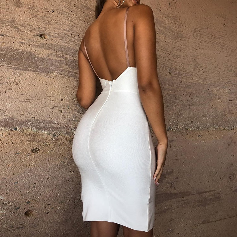 WHITE BANDAGE DRESS - Revossa