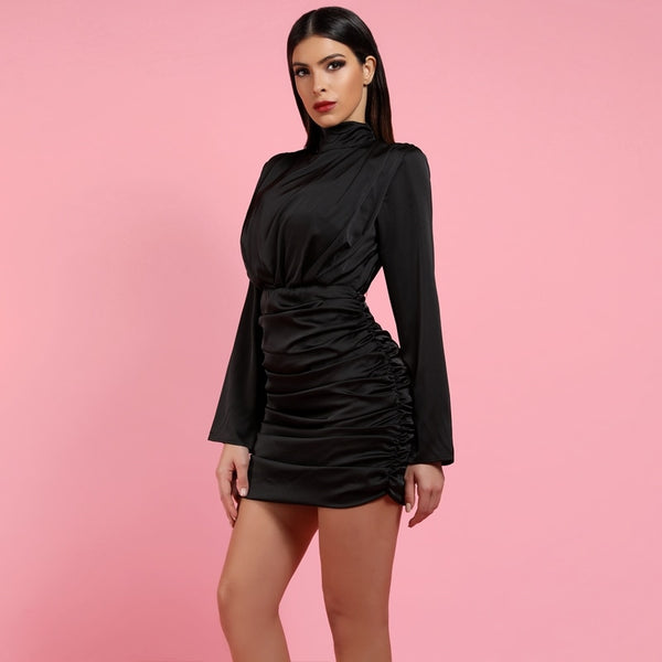 BLACK SATIN DRESS - Revossa