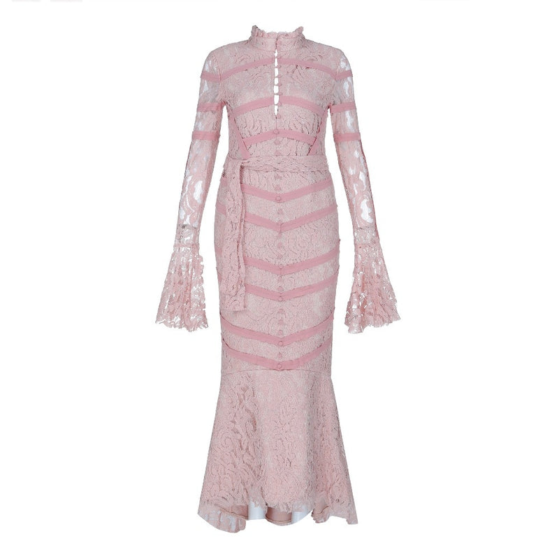 PINK LACE MERMAID DRESS - Revossa