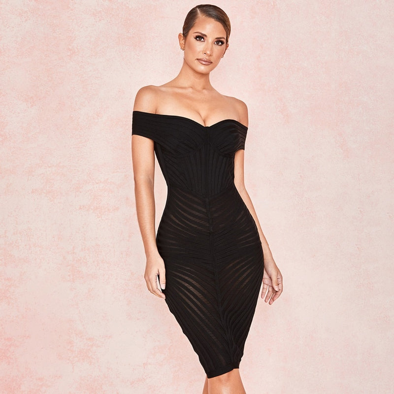 OFF SHOULDER MESH PATCH DRESS - Revossa