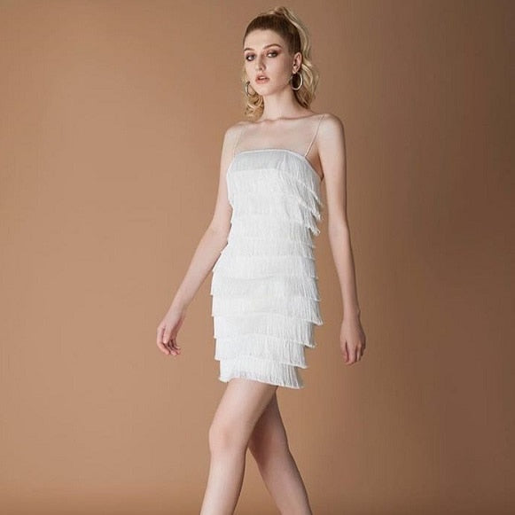 WHITE TASSLE DRESS - Revossa