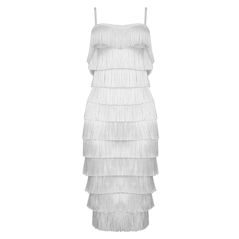 WHITE TASSLE DRESS
