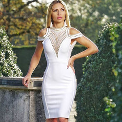 WHITE PATCH DRESS - Revossa