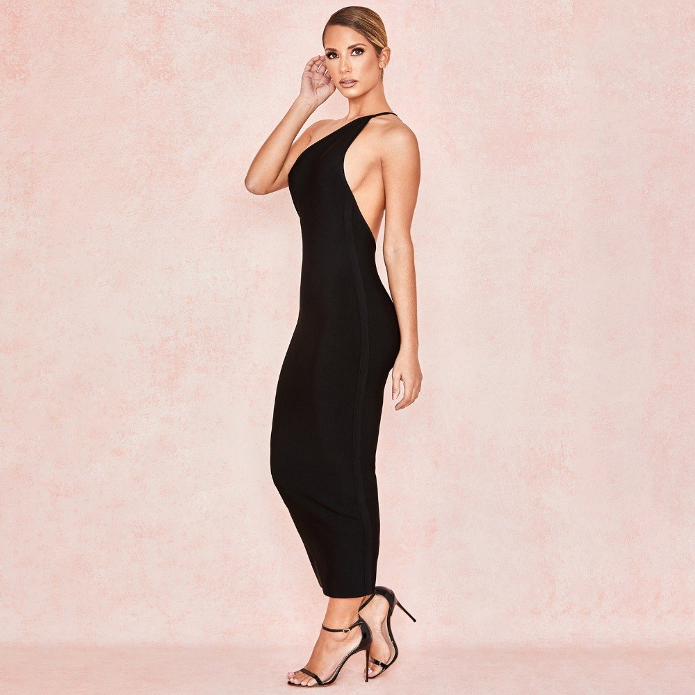 BLACK MIDI DRESS LOW BACK