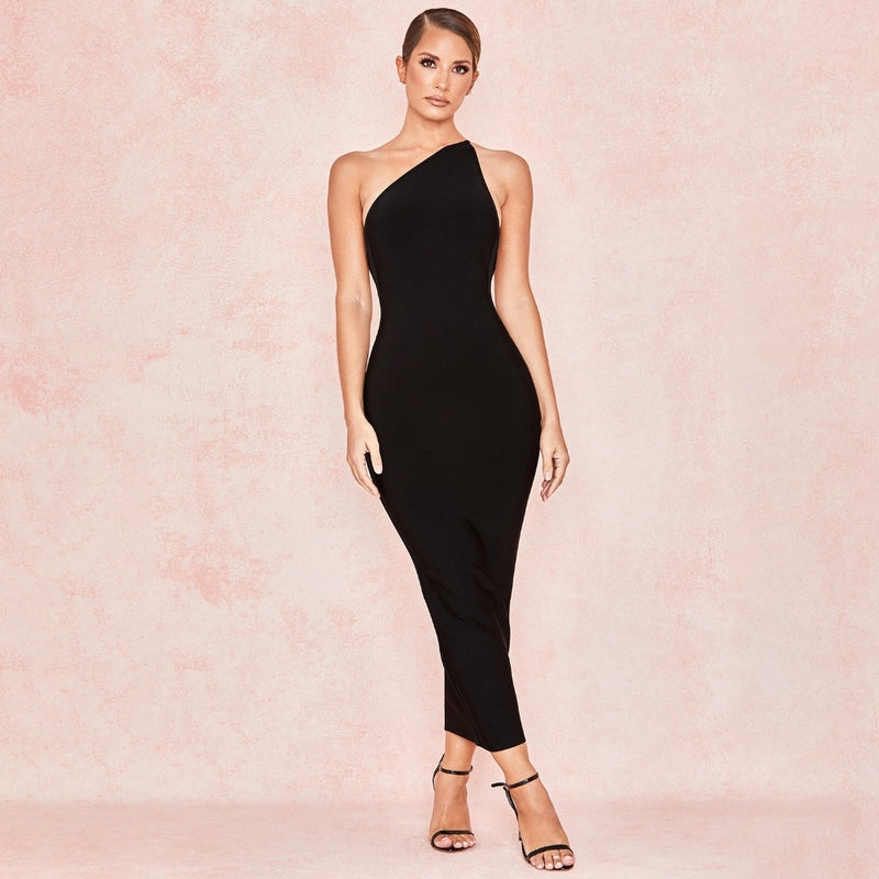 ONE SHOULDER MIDI DRESS LOW BACK - Revossa