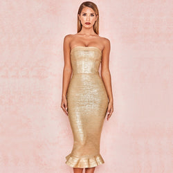 METALLIC STRAPLESS DRESS - Revossa