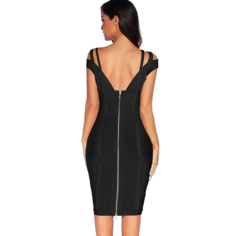 BLACK STRAPPY DRESS - Revossa