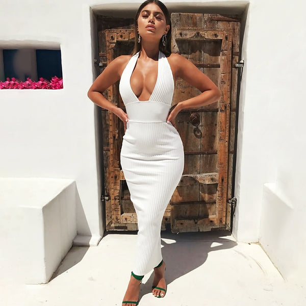 DEEP V WHITE DRESS - Revossa