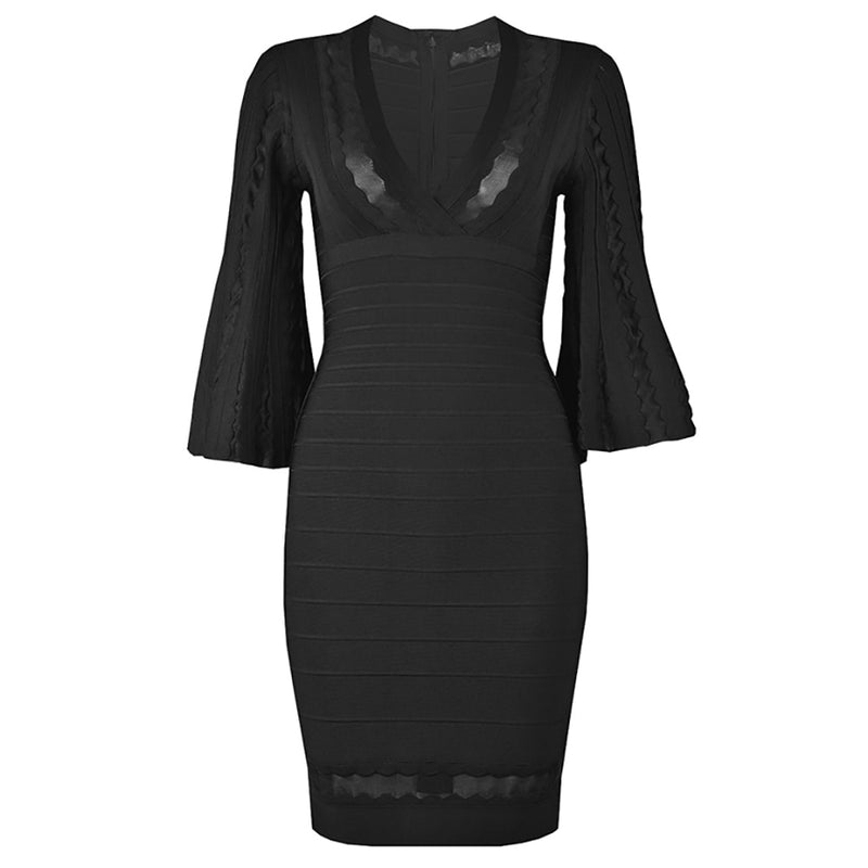 BLACK DRESS WITH FLARED SLEEVES - Revossa