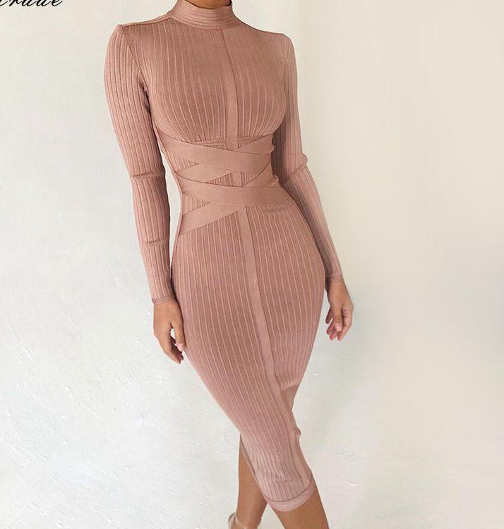 NUDE RIBBED MIDI DRESS - Revossa