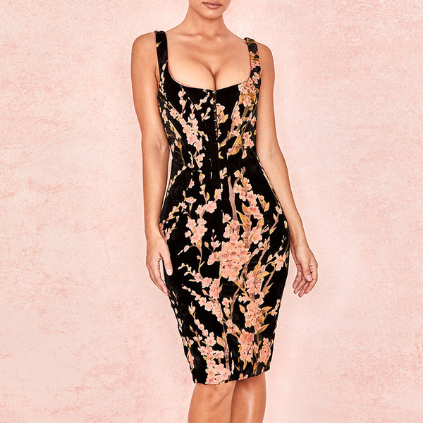 FLORAL VELVET CORSET DRESS - Revossa