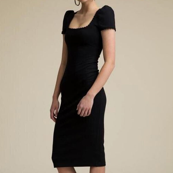 BLACK SHORT SLEEVE MIDI DRESS - Revossa
