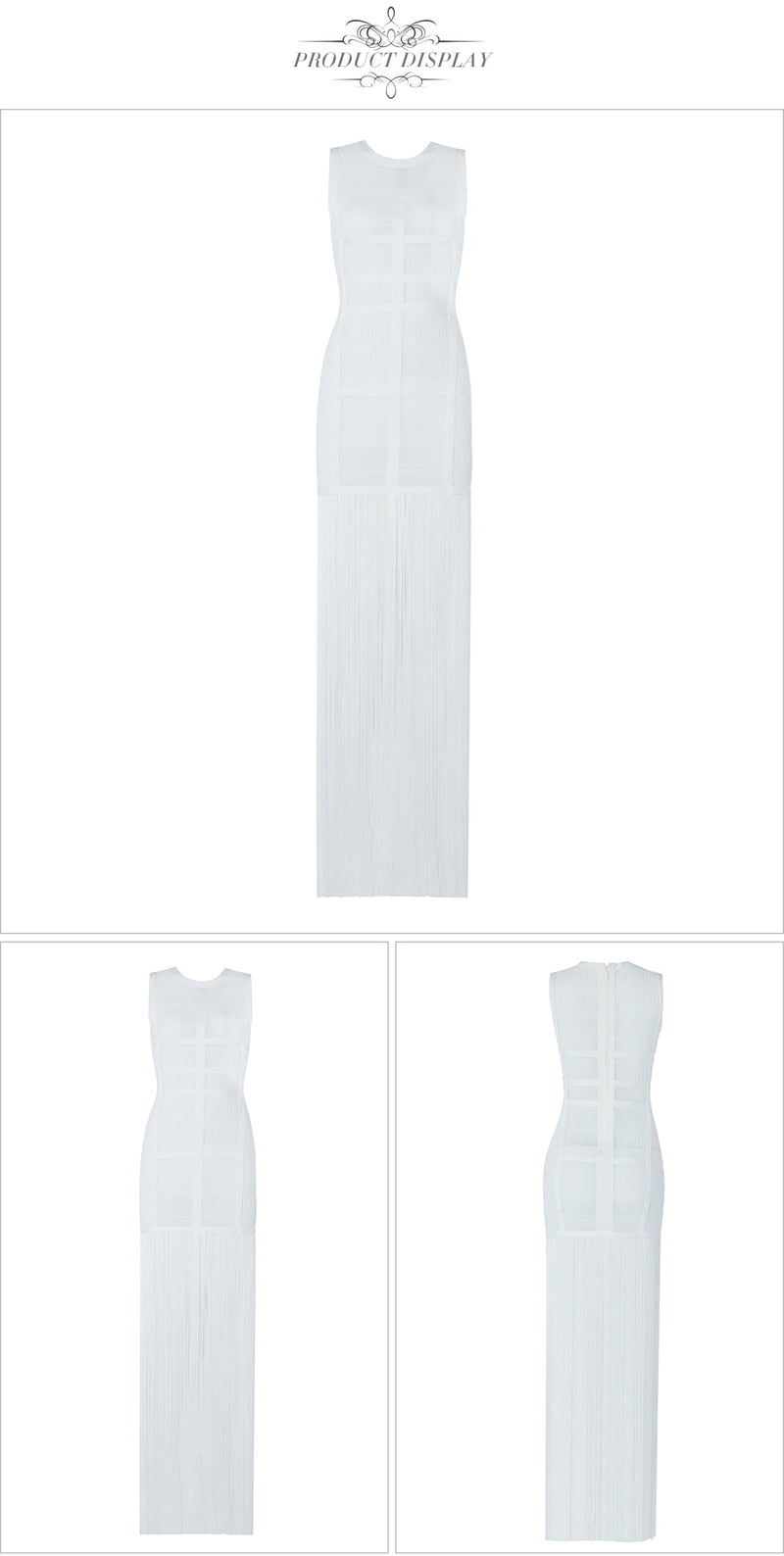 WHITE TASSLE MAXI DRESS - Revossa