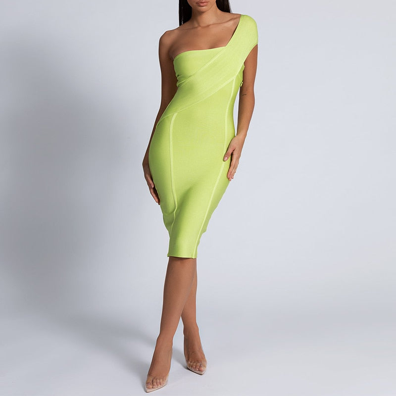 ONE SHOULDER MIDI DRESS - Revossa