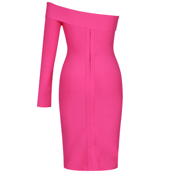 PINK ONE SLEEVE MIDI DRESS - Revossa