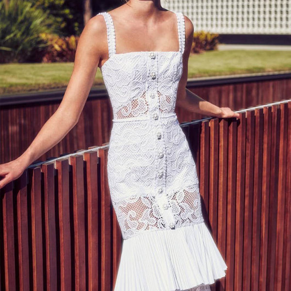 WHITE LACE MIDI MERMAID DRESS - Revossa