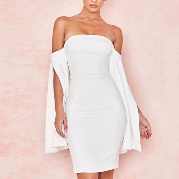 BELL SLEEVE STRAPLESS DRESS - Revossa