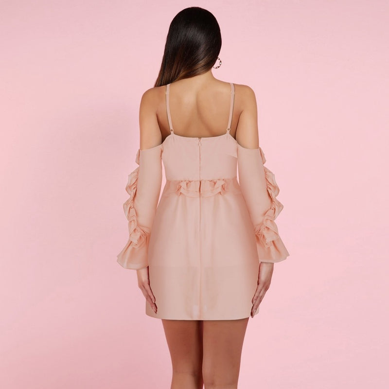 OFF SHOULDER RUFFLE MINI DRESS - Revossa
