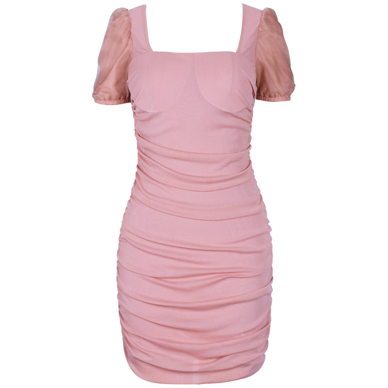 PINK PUFF SLEEVE MINI DRESS - Revossa