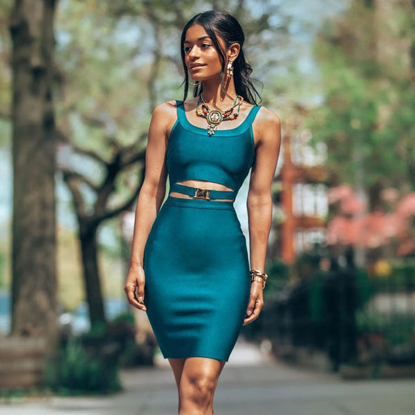 TEAL BUCKLE MINI DRESS - Revossa