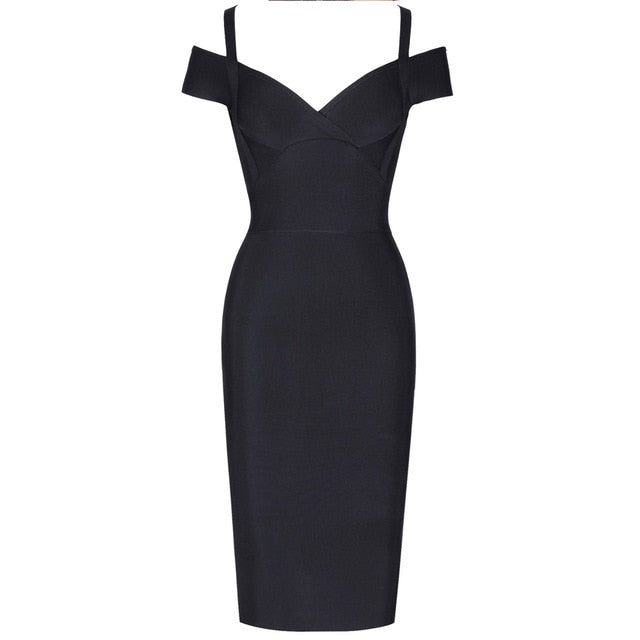 OFF SHOULDER MIDI BLACK DRESS - Revossa