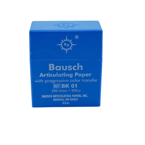 "Bausch .008"" (200 microns) Blue Articulating Paper Strips, 300 Strips in Plastic Dispenser BK01"