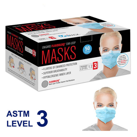 1 Day Handling Disposable Unigard Fluidbloq 4 ply Ear-Loop Face Masks ASTM Level 3 by UniPack