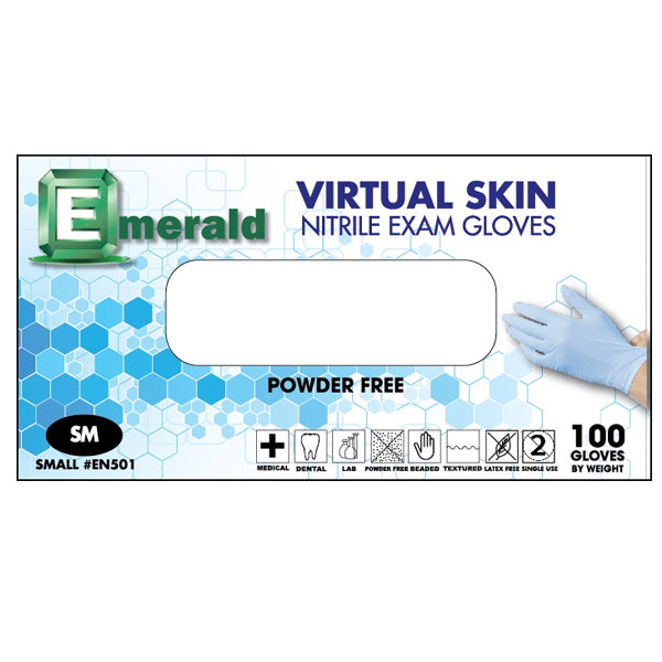 1 Day Handling Nitrile Exam Gloves Medical Grade Powder Free Latex Free Emerald Small 100 pcs/box