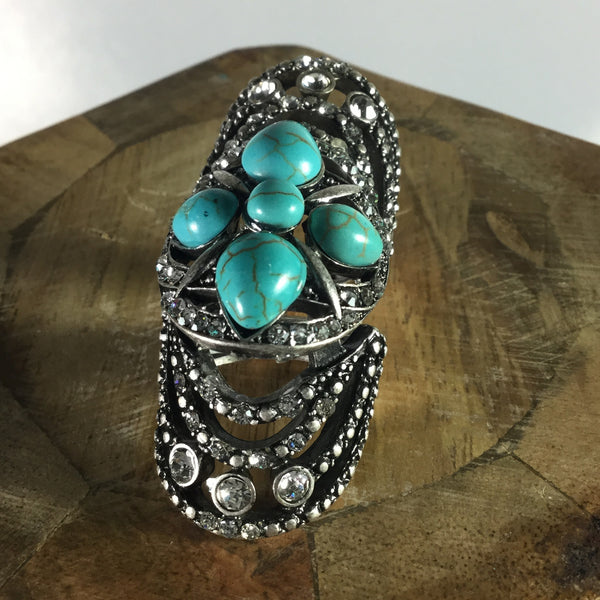TURQUOISE BOHO KNUCKLE RING - RED MOSAIC JEWELRY - 2