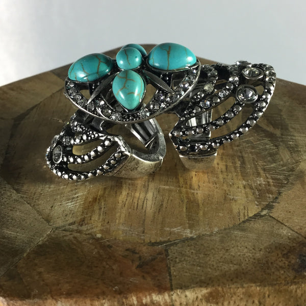 TURQUOISE BOHO KNUCKLE RING - RED MOSAIC JEWELRY - 3