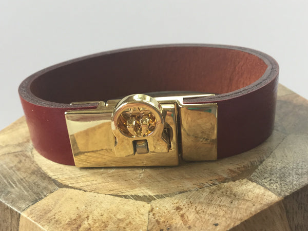 LEATHER BRACELET - RED MOSAIC JEWELRY - 2