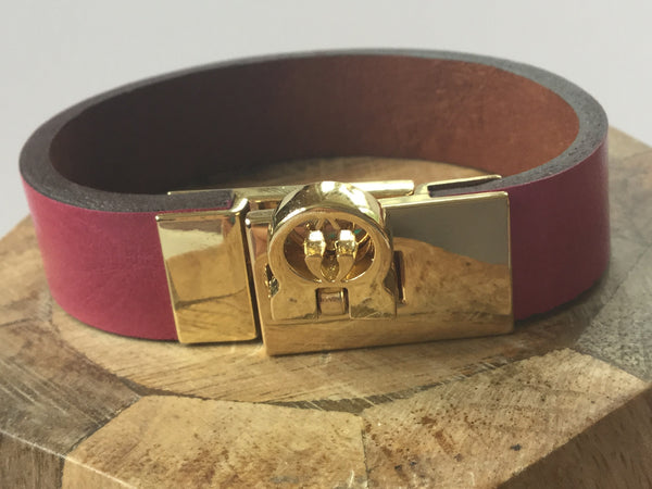LEATHER BRACELET - RED MOSAIC JEWELRY - 3