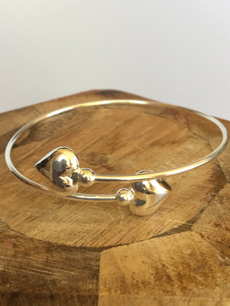 925 STERLING  SILVER DOUBLE HEART BANGLE