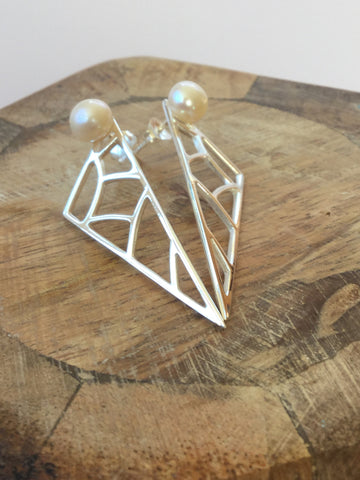 GEOMETRIC 925 STERLING SILVER & FRESHWATER EARRINGS