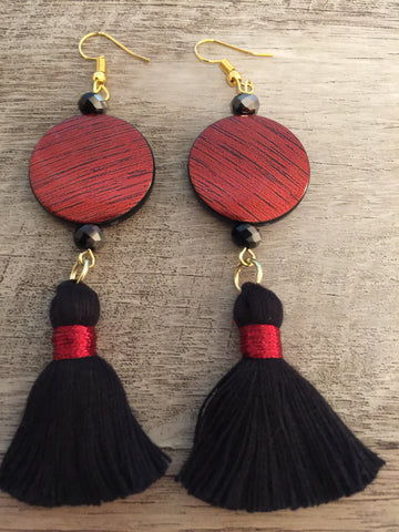 ARTISAN METALLIC ACRYLIC BEAD TASSEL EARRINGS