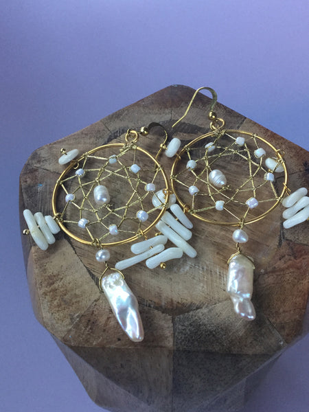 FRESHWATER PEARLS DREAMCATCHER EARRINGS
