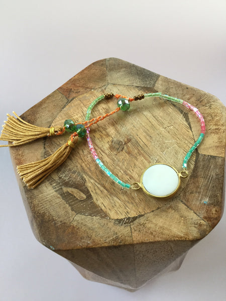 BEADED TASSEL BRACELET (Mother of Pearl & Lapis Lazuli)
