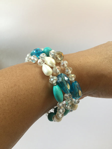 FRESHWATER PEARL TURQUOISE BANGLE
