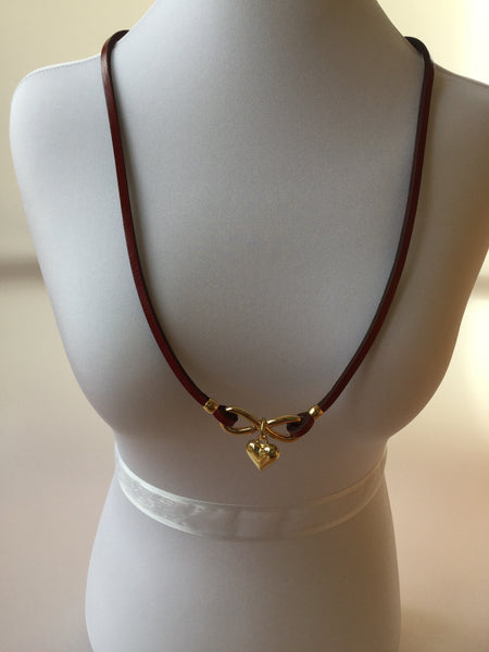 GENUINE LEATHER HEART NECKLACE