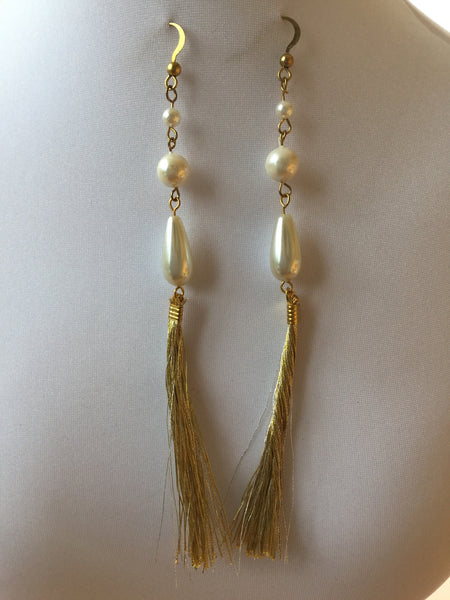 LONG DROP SILK TASSEL EARRINGS WITH PEARLS