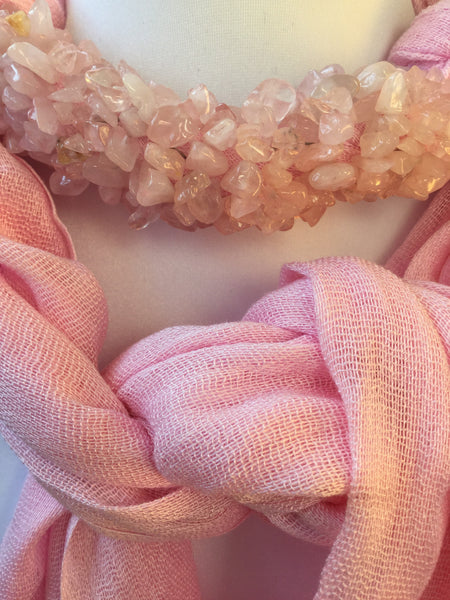 SEMI GEMSTONE BEADED SCARF
