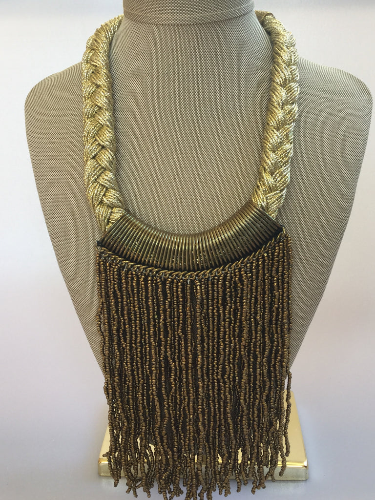 YARN AND SEED BEED BIB NECKLACE